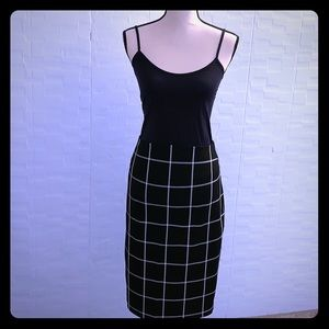 Express B&W Windowpane Pencil Skirt